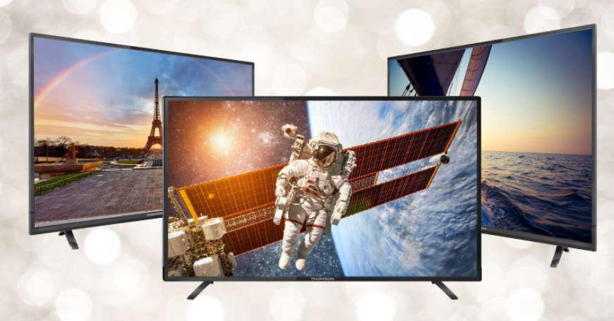 Tri novija modela televizora sa prikazom scena na ekranima od kojih prvi ima astronauta, drugi Pariz a treći otvoreno more ekranima